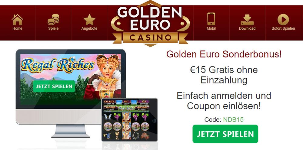 Golden Euro – Bonus Code für 15 € Gratis Bonus